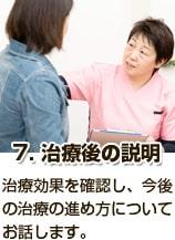 7治療後の説明_治療効果を確認し、今後の治療の進め方についてお話します。
